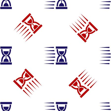Blue and red Old hourglass with flowing sand icon isolated seamless pattern on white background. Sand clock sign. Business and time management concept. Vector Illustration