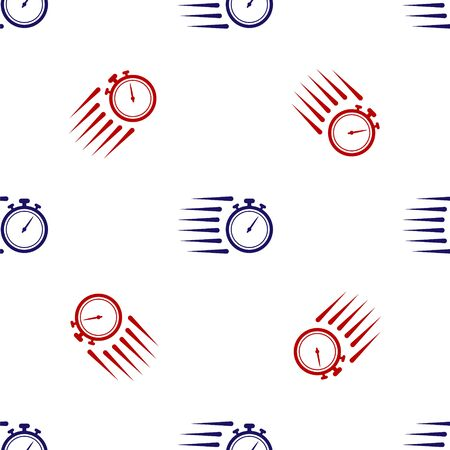 Blue and red Stopwatch icon isolated seamless pattern on white background. Time timer sign. Chronometer sign. Vector Illustration