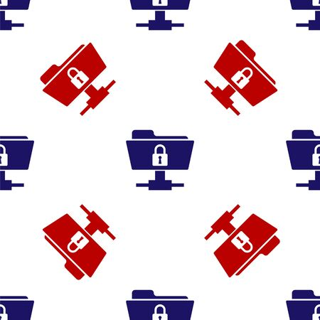 Blue and red FTP folder and lock icon isolated seamless pattern on white background. Concept of software update, ftp transfer protocol. Security, safety, protection concept. Vector Illustration Reklamní fotografie - 133655963