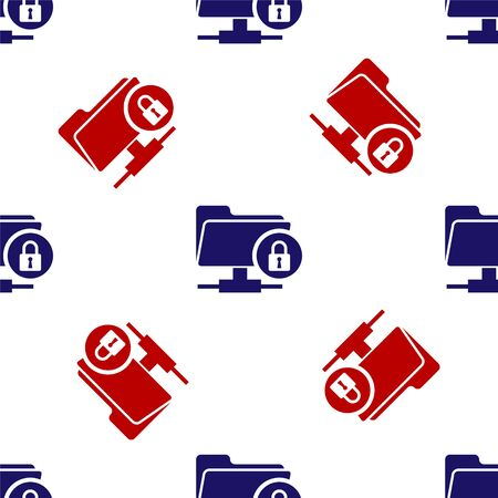 Blue and red FTP folder and lock icon isolated seamless pattern on white background. Concept of software update, ftp transfer protocol. Security, safety, protection concept. Vector Illustration