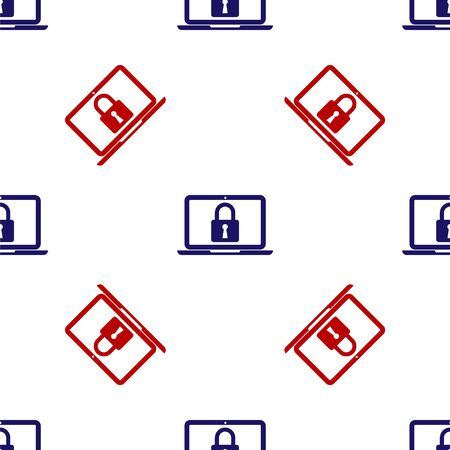 Blue and red Laptop and lock icon isolated seamless pattern on white background. Computer and padlock. Security, safety, protection concept. Safe internetwork. Vector Illustration