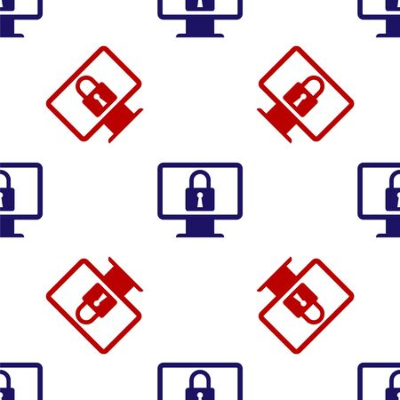 Blue and red Lock on computer monitor screen icon isolated seamless pattern on white background. Monitor and padlock. Security, safety, protection concept. Safe internetwork. Vector Illustration