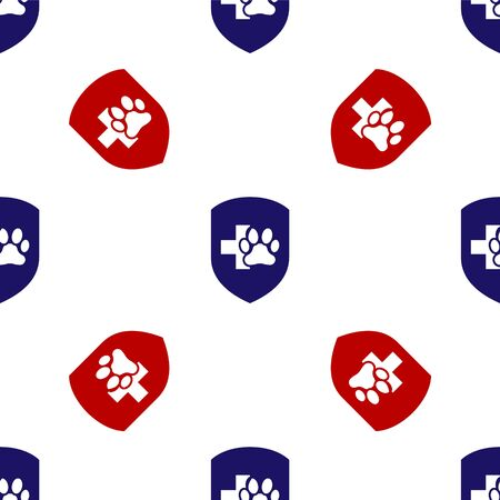 Blue and red Animal health insurance icon isolated seamless pattern on white background. Pet protection icon. Dog or cat paw print. Vector Illustration