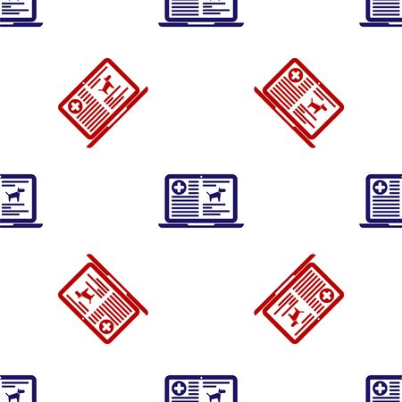 Blue and red Medical clinical record dog on laptop icon isolated seamless pattern on white background. Health insurance form. Prescription, medical check marks report. Vector Illustration