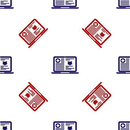 Blue and red Medical clinical record cat on laptop icon isolated seamless pattern on white background. Health insurance form. Prescription, medical check marks report. Vector Illustration Иллюстрация