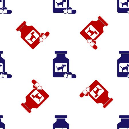 Blue and red Dog medicine bottle and pills icon isolated seamless pattern on white background. Container with pills. Prescription medicine for animal. Vector Illustration