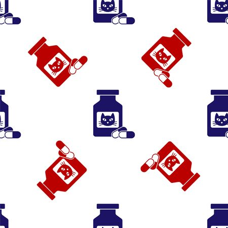 Blue and red Cat medicine bottle and pills icon isolated seamless pattern on white background. Container with pills. Prescription medicine for animal. Vector Illustration