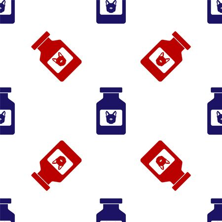 Blue and red Dog medicine bottle icon isolated seamless pattern on white background. Container with pills. Prescription medicine for animal. Vector Illustration