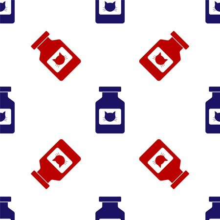 Blue and red Cat medicine bottle icon isolated seamless pattern on white background. Container with pills. Prescription medicine for animal. Vector Illustration