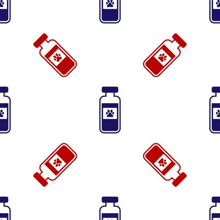 Blue and red Pets vial medical icon isolated seamless pattern on white background. Prescription medicine for animal. Vector Illustration Ilustração