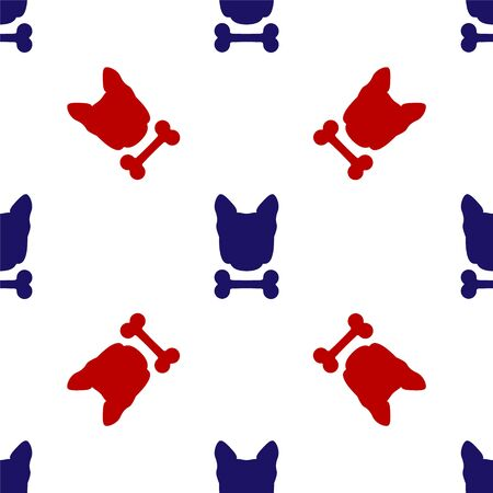 Blue and red Dog and bone icon isolated seamless pattern on white background. Pets food symbol. Vector Illustration Иллюстрация