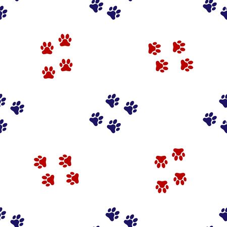 Blue and red Paw print icon isolated seamless pattern on white background. Dog or cat paw print. Animal track. Vector Illustration