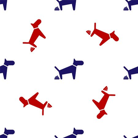 Blue and red Dog pooping icon isolated seamless pattern on white background. Dog goes to the toilet. Dog defecates. The concept of place for walking pets. Vector Illustration Illustration