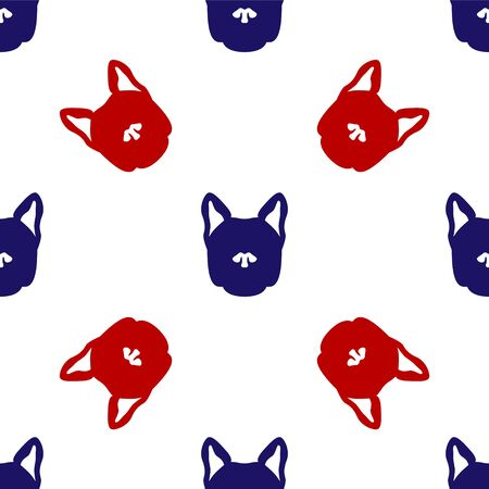 Blue and red Dog icon isolated seamless pattern on white background. Vector Illustration