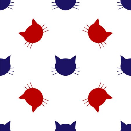Blue and red Cat icon isolated seamless pattern on white background. Vector Illustration Иллюстрация
