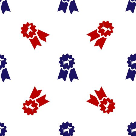 Blue and red Dog award symbol icon isolated seamless pattern on white background. Medal with dog footprint as pets exhibition winner concept. Vector Illustration