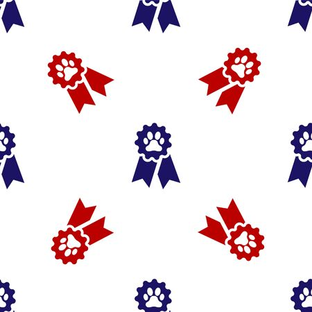 Blue and red Pet award symbol icon isolated seamless pattern on white background. Badge with dog or cat paw print and ribbons. Medal for animal. Vector Illustration