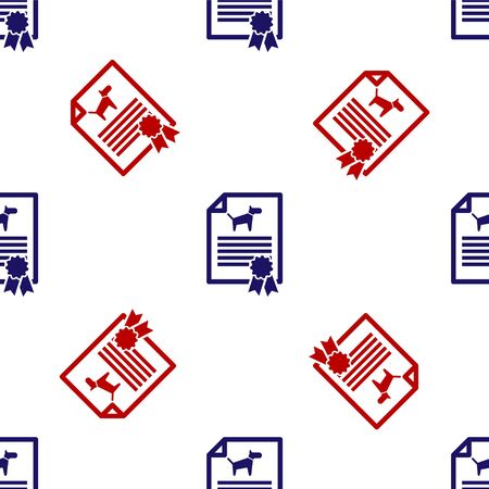 Blue and red Medical certificate for travel with dog or cat icon isolated seamless pattern on white background. Document for pet. Dog or cat paw print. Vector Illustration Иллюстрация