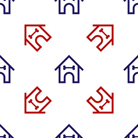 Blue and red Dog house and bone icon isolated seamless pattern on white background. Dog kennel. Vector Illustration