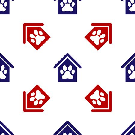 Blue and red Dog house and paw print pet icon isolated seamless pattern on white background. Dog kennel. Vector Illustration Иллюстрация