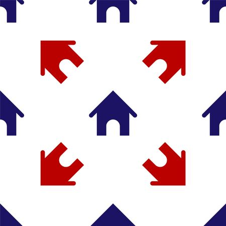 Blue and red Dog house icon isolated seamless pattern on white background. Dog kennel. Vector Illustration