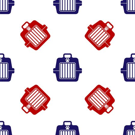 Blue and red Pet carry case icon isolated seamless pattern on white background. Carrier for animals, dog and cat. Container for animals. Animal transport box. Vector Illustration