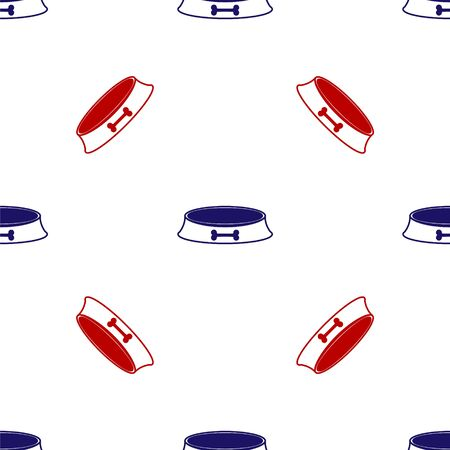 Blue and red Pet food bowl for cat or dog icon isolated seamless pattern on white background. Dog bone sign. Vector Illustration Иллюстрация