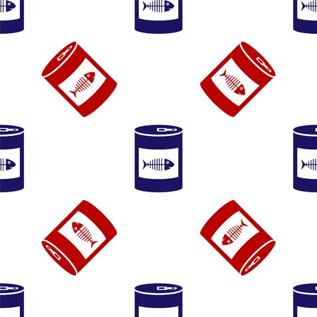 Blue and red Canned food for cat icon isolated seamless pattern on white background. Fish skeleton sign. Food for animals. Pet dog food can. Vector Illustration