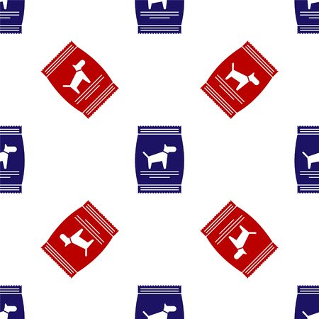 Blue and red Bag of food for dog icon isolated seamless pattern on white background. Food for animals. Pet food package. Vector Illustration