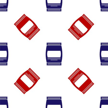 Blue and red Bag of food icon isolated seamless pattern on white background. Food for animals. Pet food package. Vector Illustration