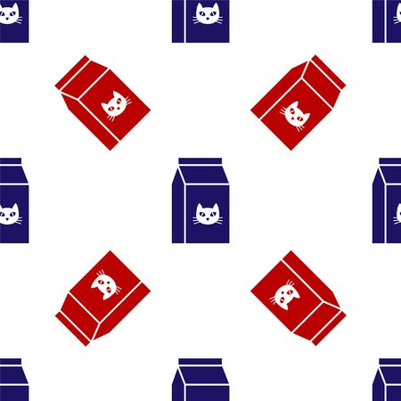 Blue and red Bag of food for cat icon isolated seamless pattern on white background. Food for animals. Pet food package. Vector Illustration 向量圖像