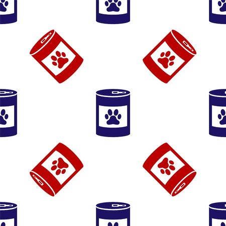 Blue and red Canned food icon isolated seamless pattern on white background. Food for animals. Pet food can. Dog or cat paw print. Vector Illustration 向量圖像
