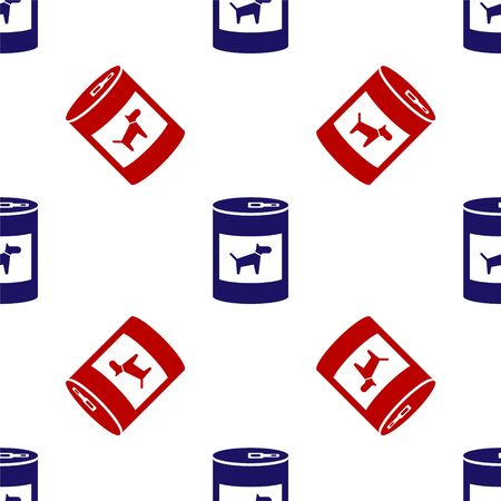 Blue and red Canned food for dog icon isolated seamless pattern on white background. Food for animals. Pet dog food can. Vector Illustration