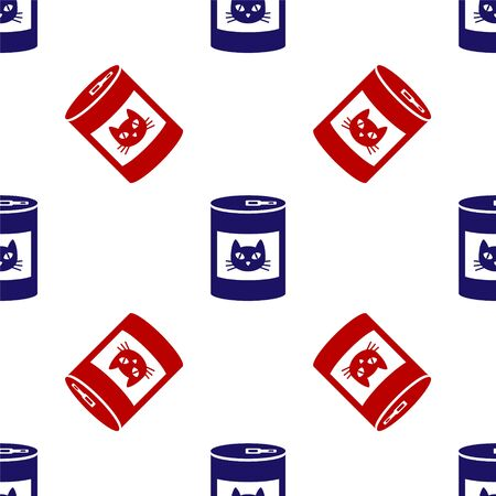 Blue and red Canned food for cat icon isolated seamless pattern on white background. Food for animals. Pet dog food can. Vector Illustration 向量圖像