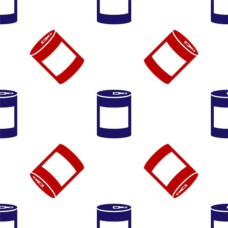 Blue and red Canned food icon isolated seamless pattern on white background. Food for animals. Pet food can. Vector Illustration 向量圖像