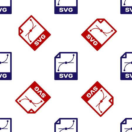 Blue and red SVG file document. Download svg button icon isolated seamless pattern on white background. SVG file symbol. Vector Illustration