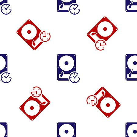 Blue and red Hard disk drive with clockwise sign, data recovery icon isolated seamless pattern on white background. Vector Illustration