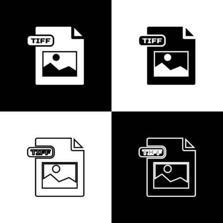 Set TIFF file document. Download tiff button icon isolated on black and white background. TIFF file symbol. Vector Illustration Illustration