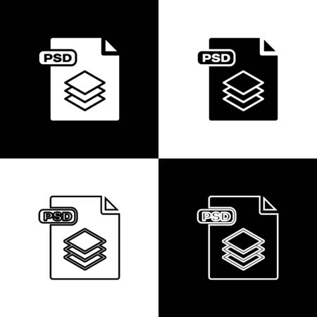 Set PSD file document. Download psd button icon isolated on black and white background. PSD file symbol. Vector Illustration