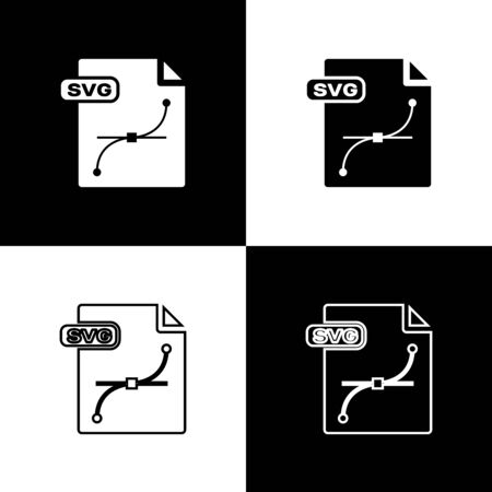Set SVG file document. Download svg button icon isolated on black and white background. SVG file symbol. Vector Illustration