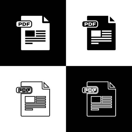 Set PDF file document. Download pdf button icon isolated on black and white background. PDF file symbol. Vector Illustration