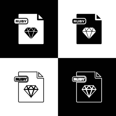 Set RUBY file document. Download ruby button icon isolated on black and white background. RUBY file symbol. Vector Illustration Ilustrace