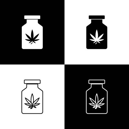 Set Medical bottle with marijuana or cannabis leaf icon isolated on black and white background. Mock up of cannabis oil extracts in jars. Vector Illustration Иллюстрация