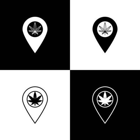 Set Map pointer and marijuana or cannabis leaf icon isolated on black and white background. Hemp symbol. Vector Illustration Иллюстрация