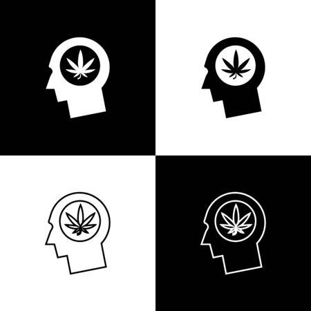 Set Silhouette of male head in profile with marijuana or cannabis leaf icon isolated on black and white background. Marijuana legalization. Hemp symbol. Vector Illustration Иллюстрация