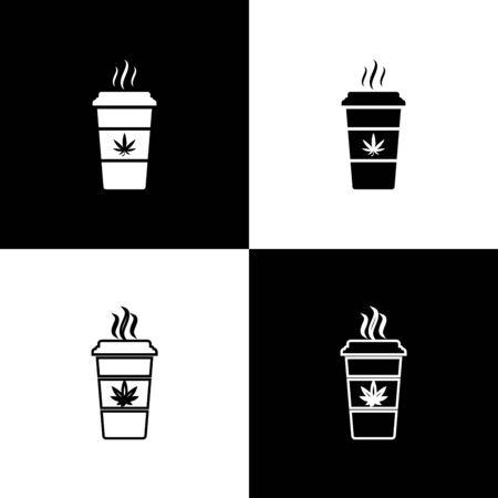 Set Cup coffee with marijuana or cannabis leaf icon isolated on black and white background. Marijuana legalization. Hemp symbol. Vector Illustration