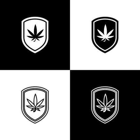 Set Shield and marijuana or cannabis leaf icon isolated on black and white background. Marijuana legalization. Hemp symbol. Vector Illustration