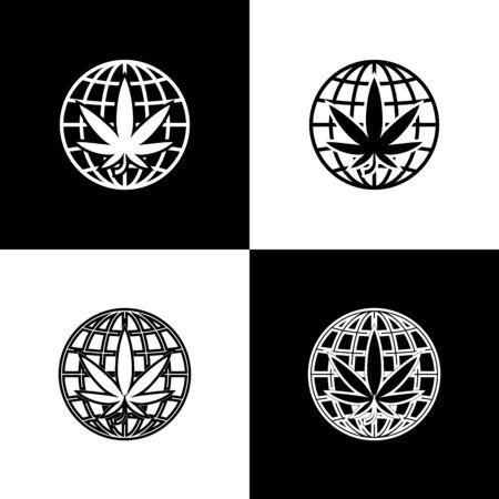 Set Legalize marijuana or cannabis globe symbol icon isolated on black and white background. Hemp symbol. Vector Illustration