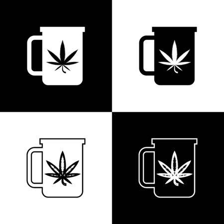Set Cup tea with marijuana or cannabis leaf icon isolated on black and white background. Marijuana legalization. Hemp symbol. Vector Illustration