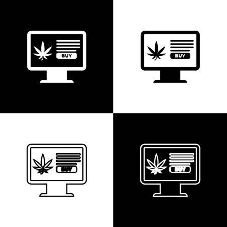 Set Computer monitor and medical marijuana or cannabis leaf icon isolated on black and white background. Online buying symbol. Supermarket basket. Vector Illustration Иллюстрация